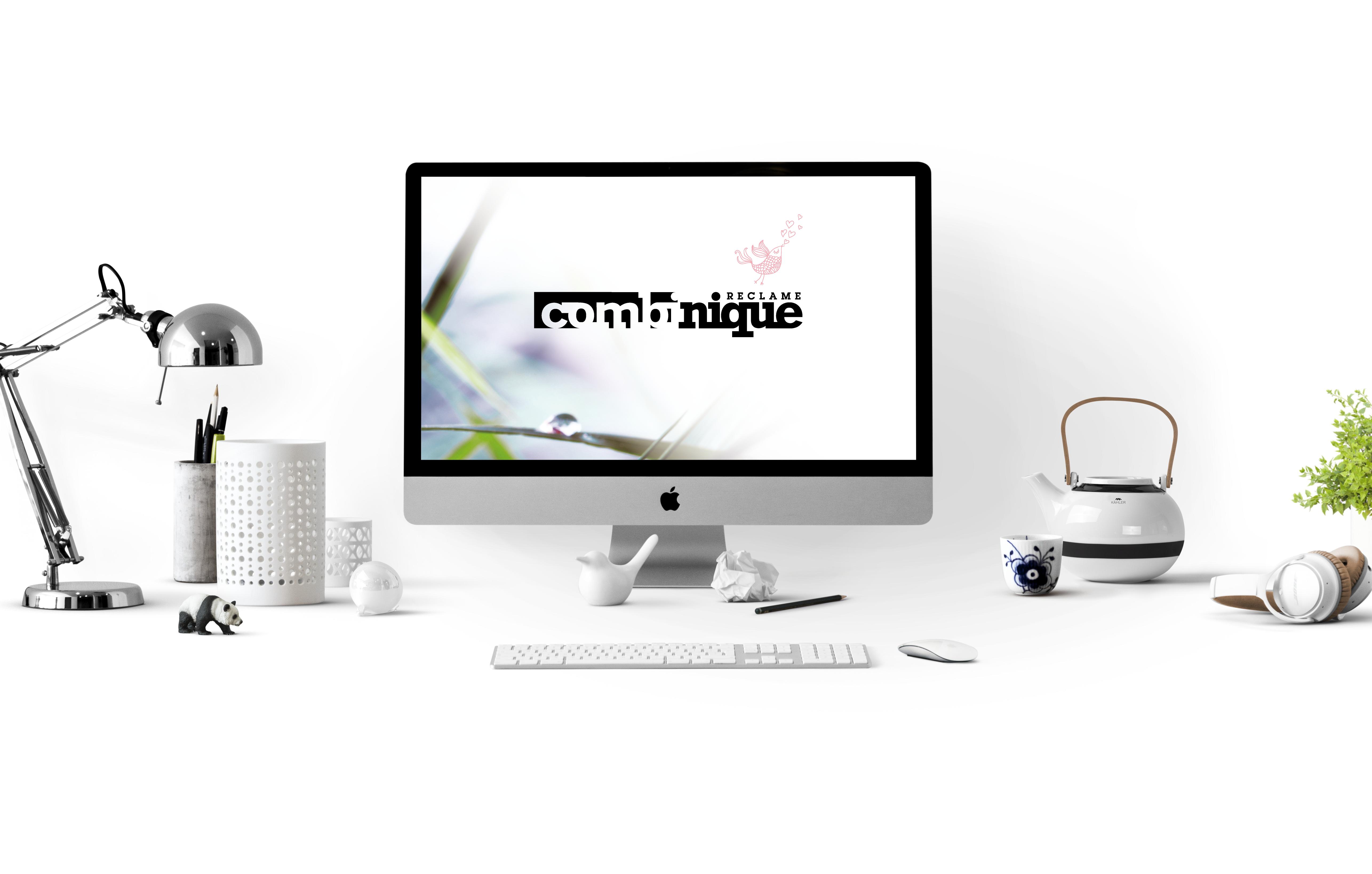 Combinique reclame achtergrond met logo